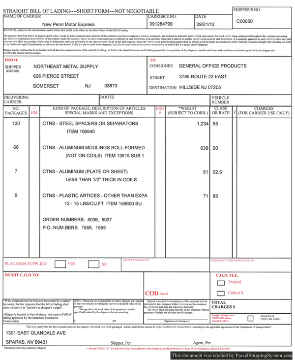 Parcel Shipping System (pss). 13 Bill Of Lading ...