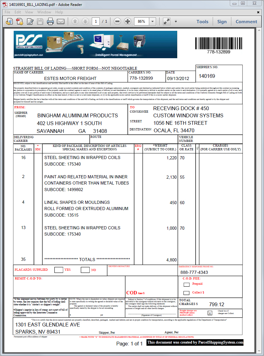 straight bill of lading template modern day see sample d 1